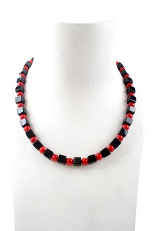 N004019 Black Agate Red Coral