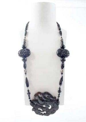 N003922 Black Carved Jade