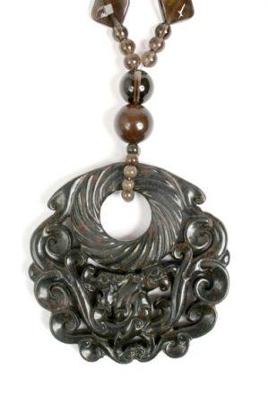 N004035 Brown Carved Jade