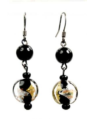 Black Gold Silver Glass Earings