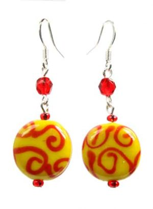 Yellow Red Earings