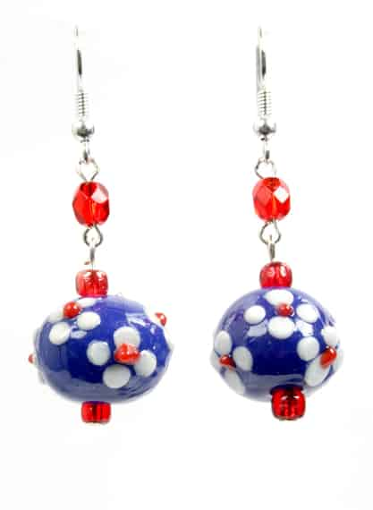 Blue White Red Earings