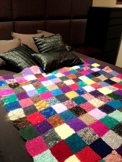 Hand knit patchwork throw