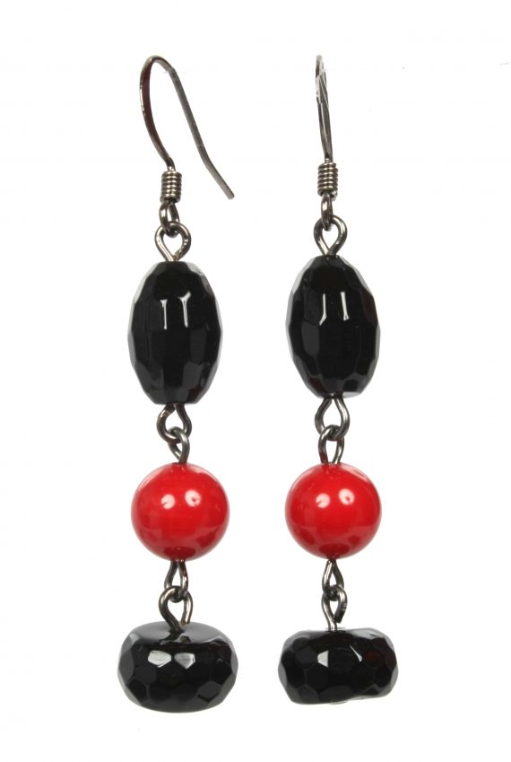 Black Agate and Red Coral Earings