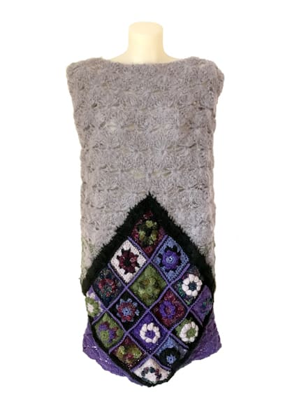 Hand Crochet Vest Grey Purple