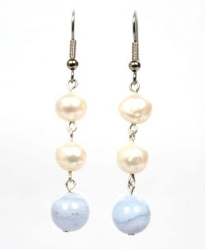 Pearl Blue Lace Earings