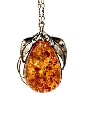 Amber Pendant silver chain